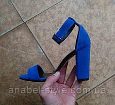 Босоножки женские на толстом устойчивом каблуке натуральная замша цвет электрик, фото 3
