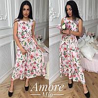 Женское платье -миди с цветочным принтом (5 цветов), фото 1