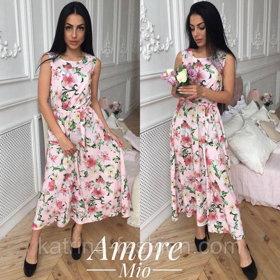 Женское платье -миди с цветочным принтом (5 цветов)