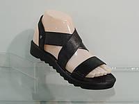 Модные женские кожаные босоножки с резинкой на подьеме, фото 1