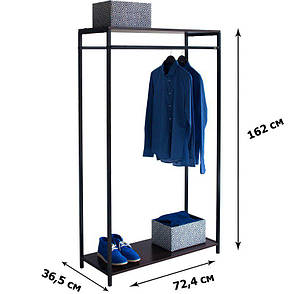 Стойка для одежды Квадро 8 (металл/дерево), фото 2