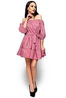 Модное платье короткое юбка пышная открытые плечи на резинке красный