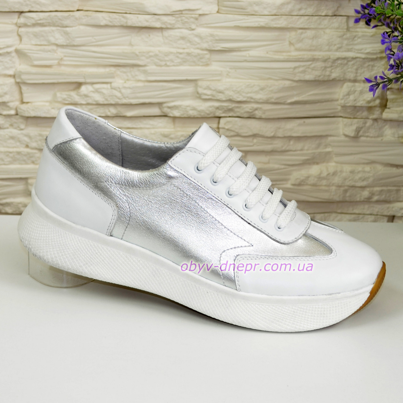 Кроссовки кожаные женские на утолщенной подошве, цвет белый/серебро