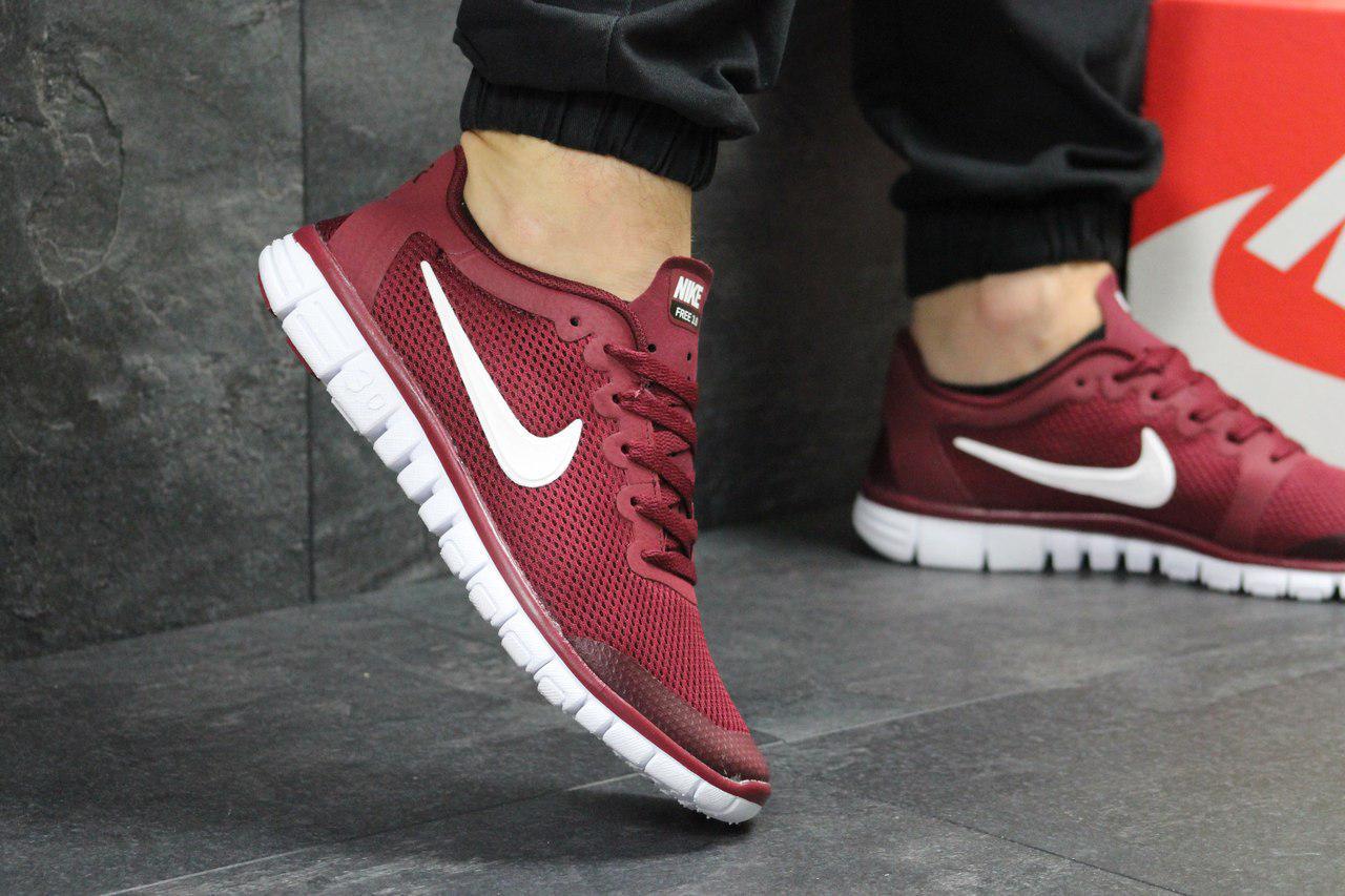 Кроссовки мужские  Nike Free Run 3.0  (бордовые), ТОП-реплика