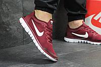 Кроссовки мужские  Nike Free Run 3.0  (бордовые), ТОП-реплика, фото 1