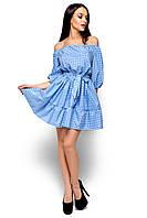 Летнее платье мини на резинке с воланом рукав до локтя в клетку голубое
