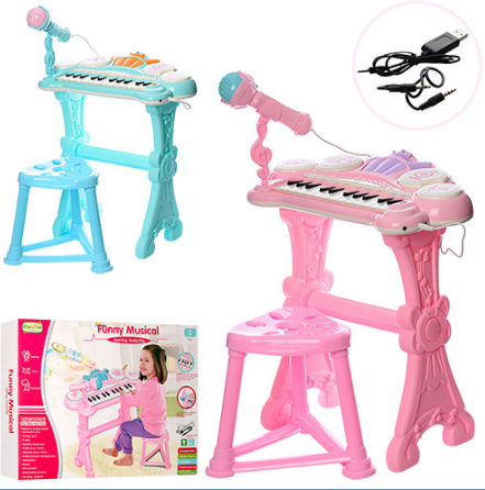Детский синтезатор с караоке и микрофонам HY682-E ***