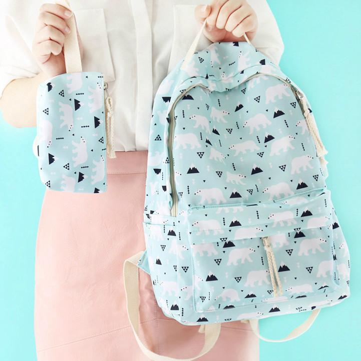 Городской рюкзак с белыми мишками
