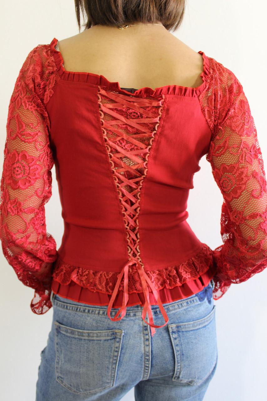 521887b059d Рубашка женская гипюр красная 8153 - купить по низкой цене. Код ...