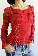 Рубашка женская гипюр красная 8153 М, фото 1