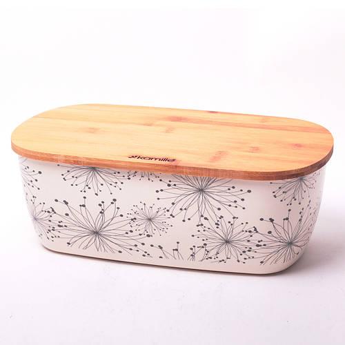 Хлебница Kamille 36*20.2*13.5см из бамбукового волокна с бамбуковой крышкой
