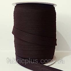 Косая  бейка  матовая 15 мм (047) черный шоколад