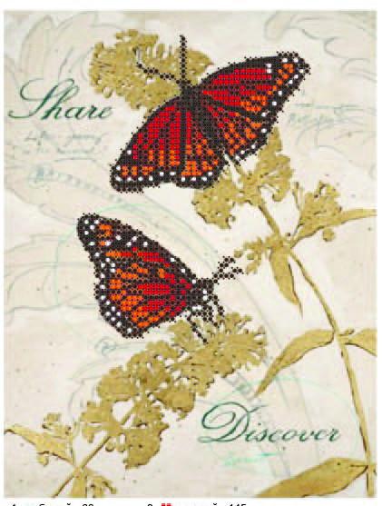 """Схема для частичной зашивки бисером - """"Бабочка красная"""""""