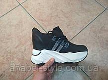 Криперсы - кроссовки черные на толстой платформе белого цвета  Код 1628, фото 2