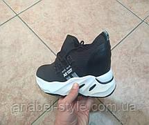 Криперсы - кроссовки черные на толстой платформе белого цвета  Код 1628, фото 3