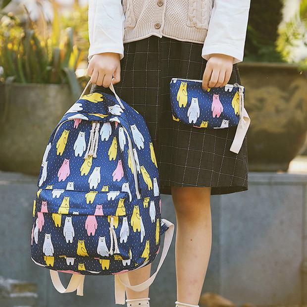Рюкзак с пеналом Медведи синий