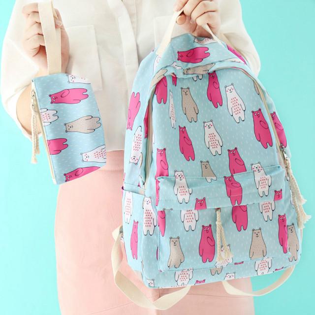 Рюкзак с пеналом Медведи голубой