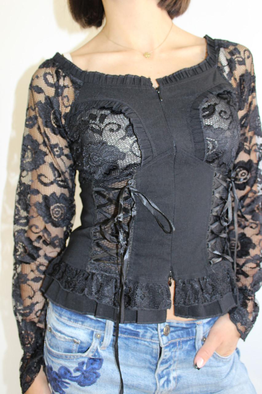 Рубашка женская гипюр черная 8153 M.L.XL.XXL