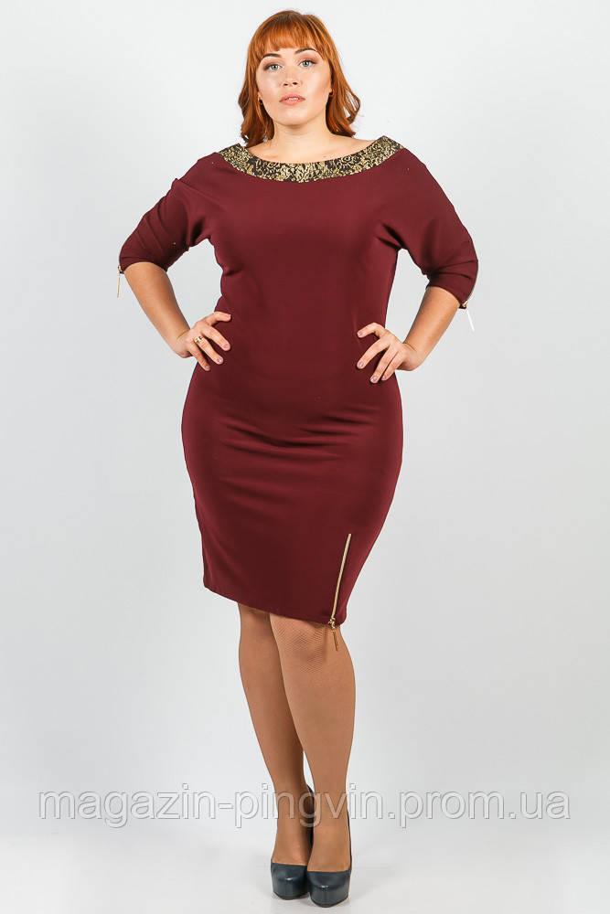 62b42761766b4 Платье женское для пышных дам 37P003 (Сливовый) - Интернет-магазин