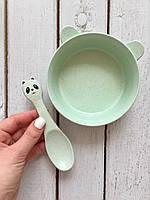 """Эко набор посуды """"Пандочка"""" Мятный Youkejia bowl"""