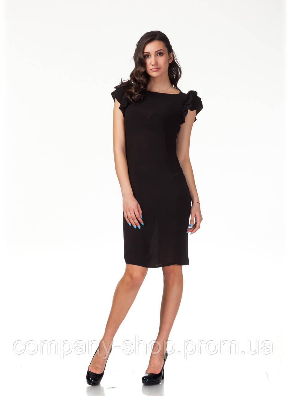 Летнее платье с пышными рукавами. Модель П110_черная жатка.