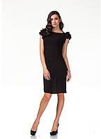 Летнее платье с пышными рукавами. Модель П110_черная жатка., фото 1