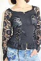 Рубашка женская гипюр черная 8153 ОПТ