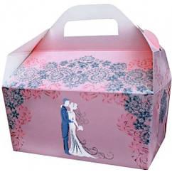 Коробки для свадебного каравая розово-персиковая с глиттером