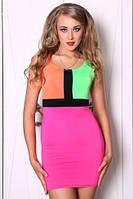 Летнее платье - футляр облегающее, платье яркое цветное, платье молодежное масло ткань