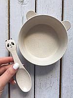 "Эко набор посуды ""Пандочка"" Бежевый Youkejia bowl"