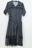 Женское платье в горошек с кружевом,Турция,рр 48-54