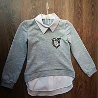 Детская кофта рубашка серая р.116-140