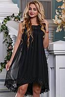 Изысканное Летнее Платье с Сеткой и Кружевом Черное M-2XL, фото 1