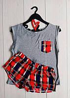 Молодежная пижама в клетку майка и шорты, пижамы женские.