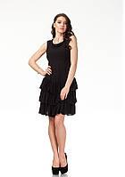 Платье с рюшами по груди оптом. Модель П113_черная жатка., фото 1