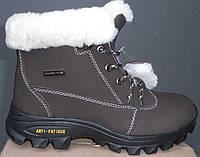 Лыжные ботинки на меху женские коричневые
