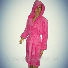 """Женский махровый халат Soft (Короткий с капюшоном) """"Розовый"""" - Турция"""