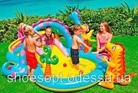 Надувной детский игровой центр бассейн с горкой Планета Динозавров Intex от 3 лет