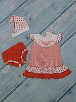 Детское платье, шорты, косынка для новорожденного (кулир), р. 74