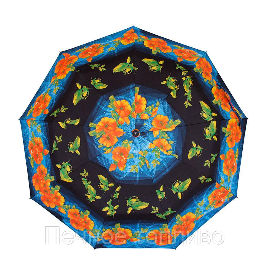 Зонт складной  полуавтомат Сине-черный