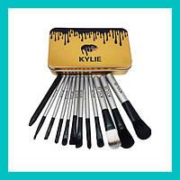 Набор кистей для макияжа Kylie большие серебро 12 шт!Акция