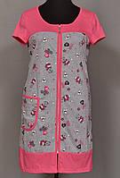 Домашний халат женский на молнии (100% хлопок) короткий рукав, с карманами Украина
