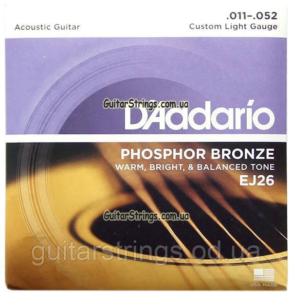 Струны D'Addario EJ26 Phosphor Bronze 11-52