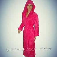 """Женский махровый халат Soft (Длинный с капюшоном) """"Малиновый"""" - Турция"""