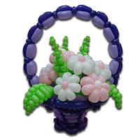 Корзина из воздушных шаров с ромашками (7 штук)