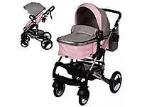 Коляска детская универсальная, книжка, колеса 4шт, корзина, серо-розовая