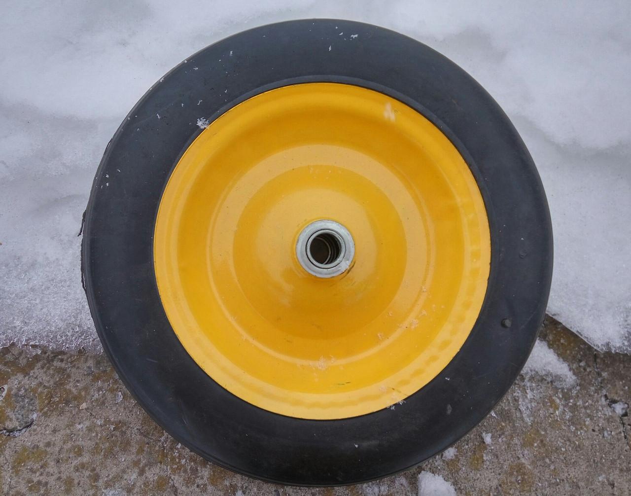Колесо литое усиленое BudMonster 14*4 (01-008) o/d= 20 желтое