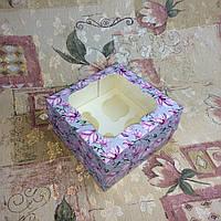 Коробка для 4-ох кексов / 170х170х90 мм / печать-Магнолия / окно-обычн / лк / цв, фото 1
