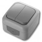 Viko Palmiye  Выключатель 2-х клавишный  серый