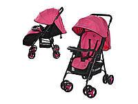 Коляска детская прогулочная, книжка, колеса 8шт, глуб. капюшон, 5-ти точ. ремень, чехол, розовый